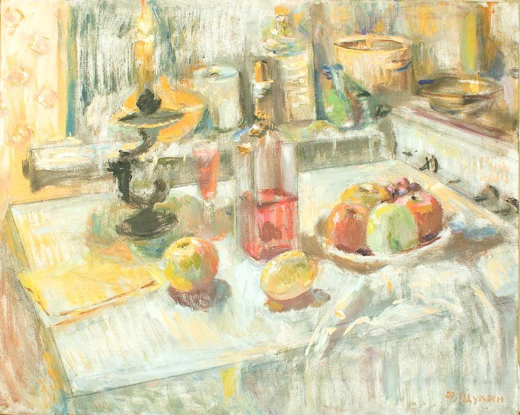 Свеча и яблоки.